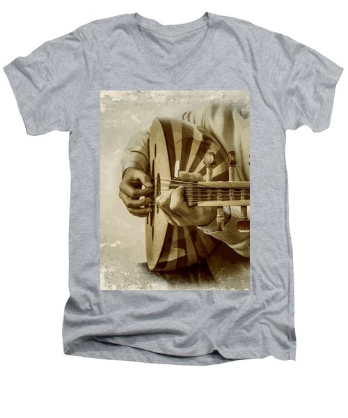 Grey Lutenist Men's V-Neck T-Shirt