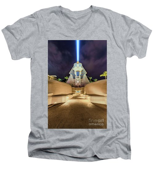 Luxor Casino Egyptian Sphinx Las Vegas Night Men's V-Neck T-Shirt