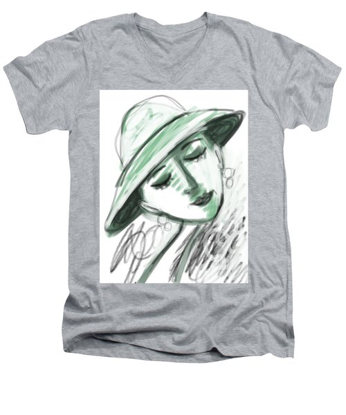 Lydia Men's V-Neck T-Shirt by Elaine Lanoue
