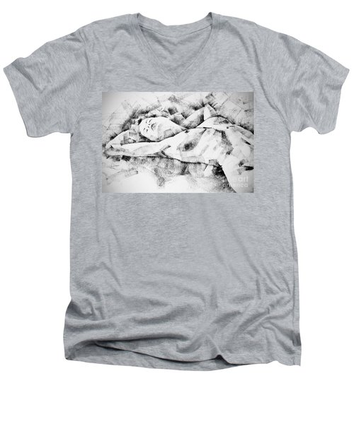 Lying Woman Figure Drawing Men's V-Neck T-Shirt