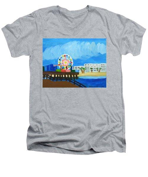 Lyndas Ferris Wheel Men's V-Neck T-Shirt by Anthony Larocca