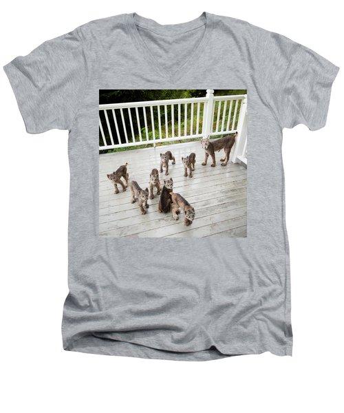 Lynx Family Portrait Men's V-Neck T-Shirt