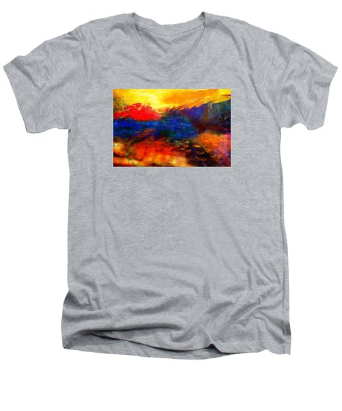 Men's V-Neck T-Shirt featuring the digital art Lyrical Landscape by Diana Riukas