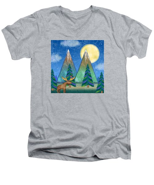M Is For Mountains And Moon Men's V-Neck T-Shirt