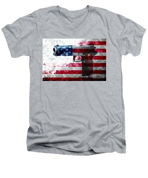 M1911 Colt 45 And American Flag On Distressed Metal Sheet Men's V-Neck T-Shirt by M L C