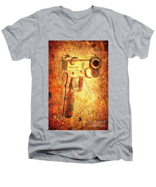 M1911 Muzzle On Rusted Background 3/4 View Men's V-Neck T-Shirt by M L C