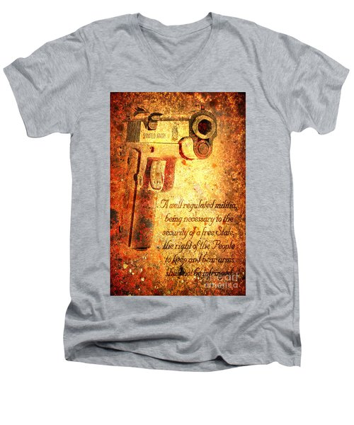 M1911 Pistol And Second Amendment On Rusted Overlay Men's V-Neck T-Shirt by M L C