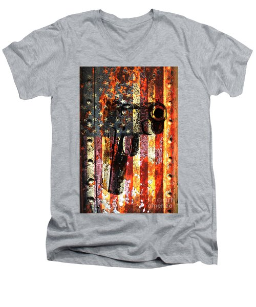 M1911 Silhouette On Rusted American Flag Men's V-Neck T-Shirt