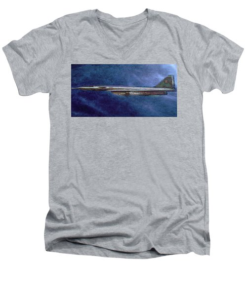 Men's V-Neck T-Shirt featuring the painting M50 Myasishchev  by Michael Cleere