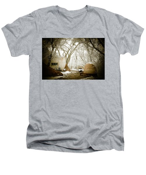 Men's V-Neck T-Shirt featuring the photograph Mabel Luhan Dodge Home Exterior by Marilyn Hunt