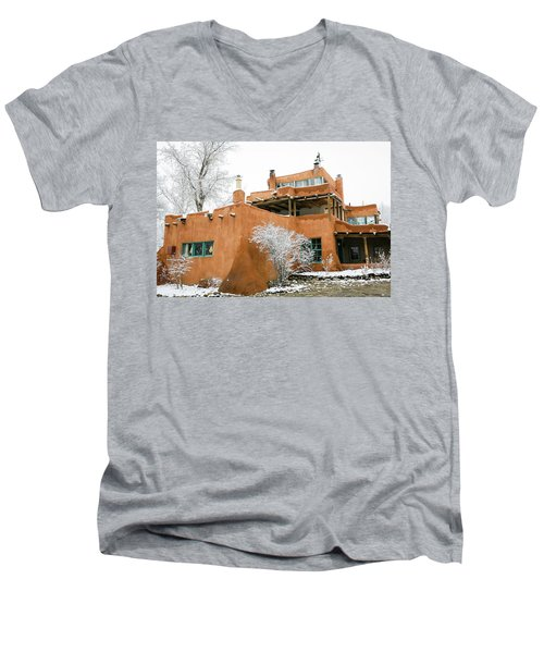 Men's V-Neck T-Shirt featuring the photograph Mabel Luhan Dodge House 1 by Marilyn Hunt