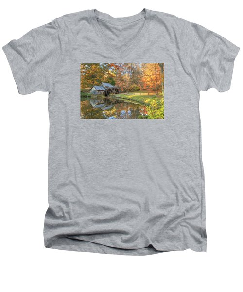 Men's V-Neck T-Shirt featuring the photograph Mabry Mill. Blue Ridge Parkway by Doug McPherson