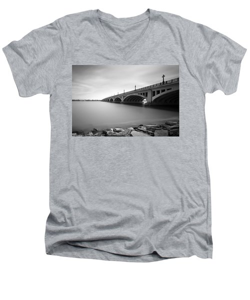 Macarthur Bridge To Belle Isle Detroit Michigan Men's V-Neck T-Shirt