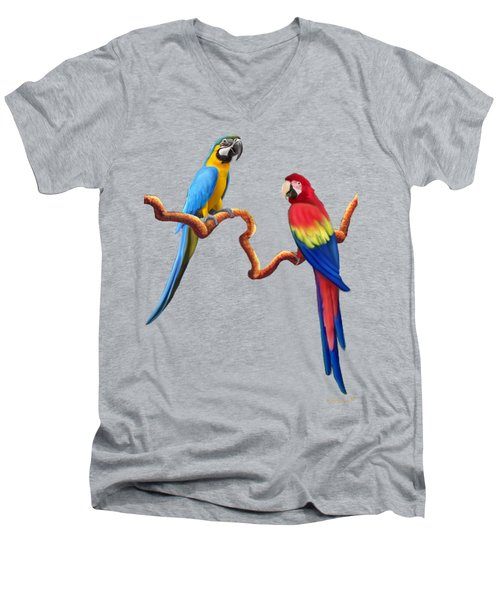 Macaw Tropical Parrots Men's V-Neck T-Shirt