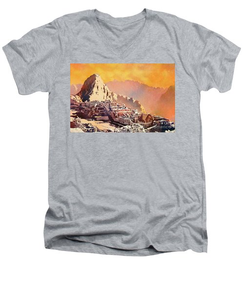 Men's V-Neck T-Shirt featuring the painting Machu Picchu Sunset by Ryan Fox