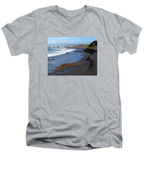Mackerricher Beach Coastline Men's V-Neck T-Shirt by Amelia Racca