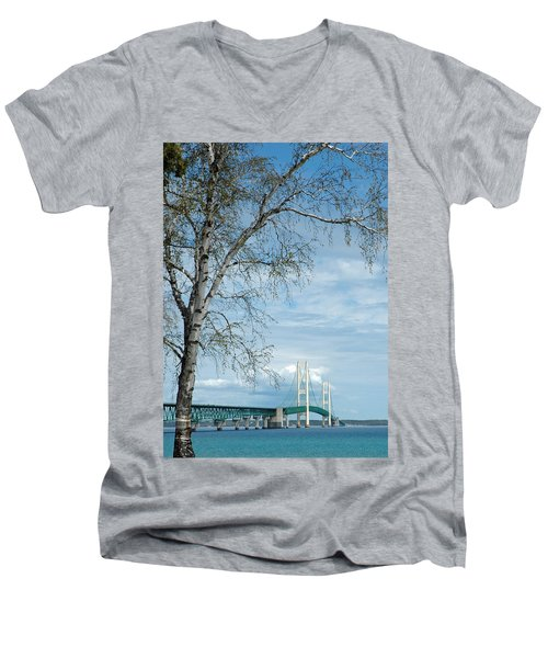 Mackinac Bridge Birch Men's V-Neck T-Shirt