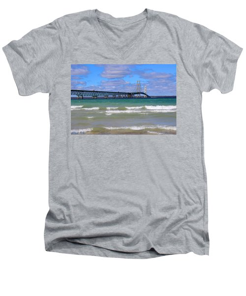 Mackinac Bridge Men's V-Neck T-Shirt by Michael Rucker