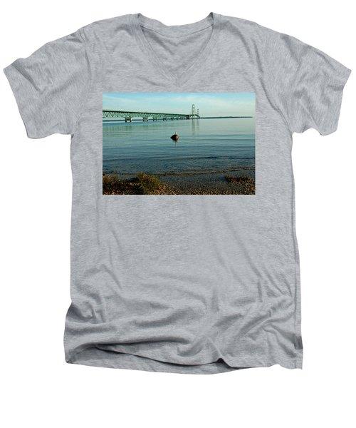 Men's V-Neck T-Shirt featuring the photograph Mackinac Bridge Michigan by LeeAnn McLaneGoetz McLaneGoetzStudioLLCcom
