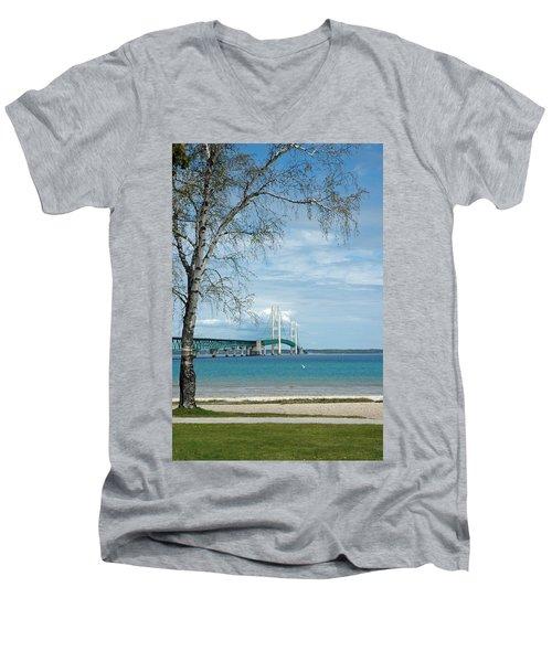 Men's V-Neck T-Shirt featuring the photograph Mackinac Bridge Park by LeeAnn McLaneGoetz McLaneGoetzStudioLLCcom