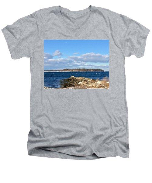 Mackworth Island Falmouth Maine Men's V-Neck T-Shirt