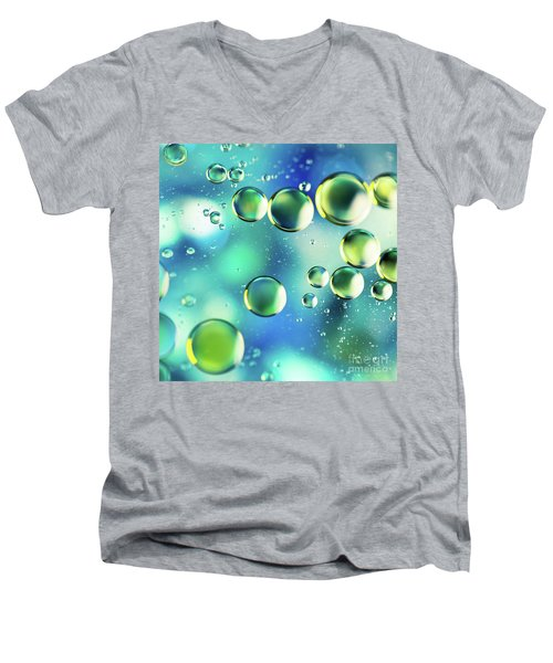 Men's V-Neck T-Shirt featuring the photograph Macro Water Droplets Aquamarine Soft Green Citron And Blue by Sharon Mau