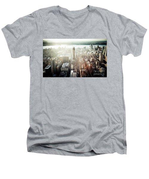 Sunset At Macy's Men's V-Neck T-Shirt