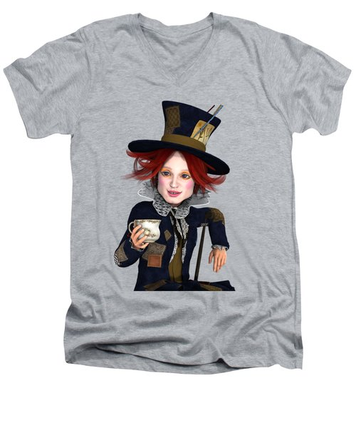 Men's V-Neck T-Shirt featuring the painting Mad Hatter Portrait by Methune Hively