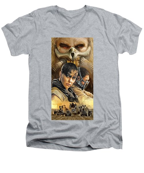 Men's V-Neck T-Shirt featuring the painting Mad Max Fury Road Artwork by Sheraz A