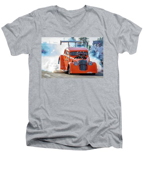 Men's V-Neck T-Shirt featuring the photograph Mad Mike Racing by Bill Gallagher
