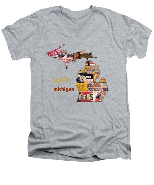Made In Michigan Products Vintage Map On Wood Men's V-Neck T-Shirt by Design Turnpike