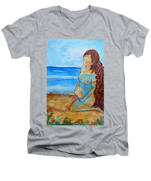 Men's V-Neck T-Shirt featuring the painting Made Of Water by Gioia Albano