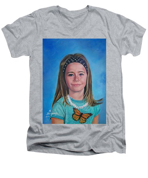 Men's V-Neck T-Shirt featuring the painting Madeline by Sharon Duguay