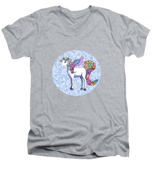 Madeline The Magic Unicorn 2 Men's V-Neck T-Shirt by Shelley Wallace Ylst