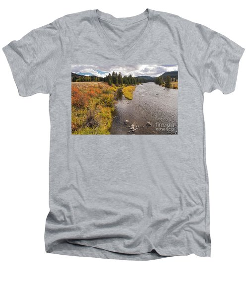 Madison River Men's V-Neck T-Shirt by Cindy Murphy - NightVisions
