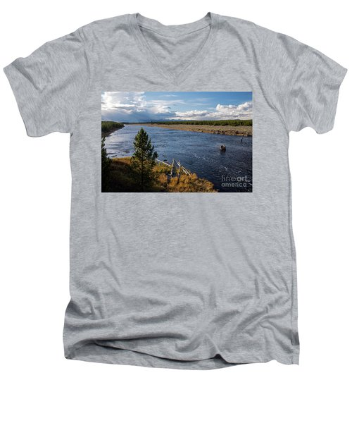 Madison River In Yellowstone National Park Men's V-Neck T-Shirt by Cindy Murphy - NightVisions