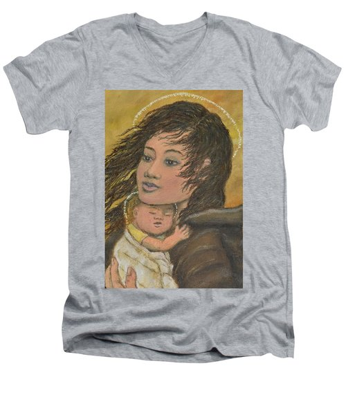 Men's V-Neck T-Shirt featuring the painting Madonna Of The Prairie Wind by Kathleen McDermott
