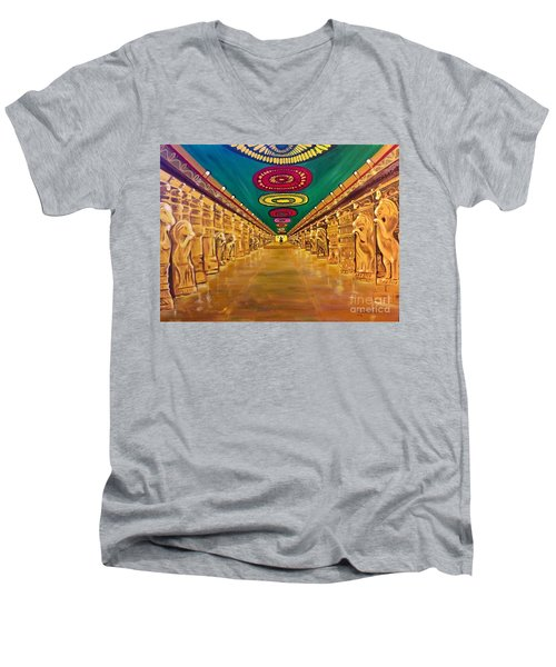 Madurai Meenakshi Temple Mandapam Men's V-Neck T-Shirt