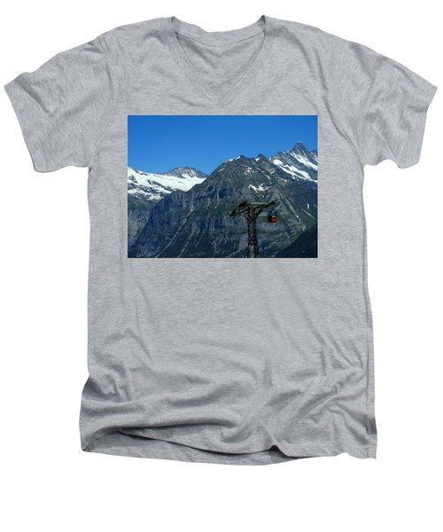Maennlichen Gondola Calbleway, In The Background Mettenberg And Schreckhorn Men's V-Neck T-Shirt by Ernst Dittmar