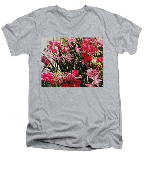Magenta Orchid Garden Men's V-Neck T-Shirt