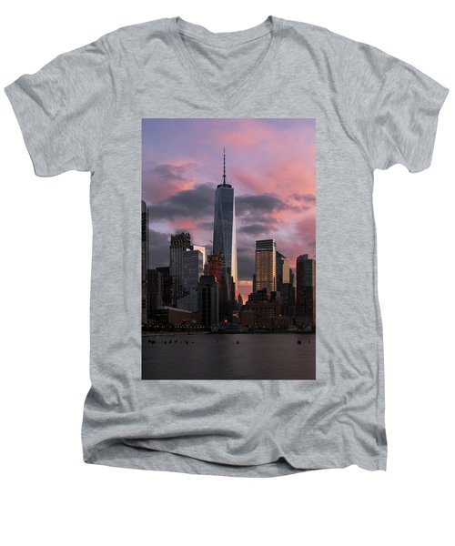 Magenta Skies Men's V-Neck T-Shirt
