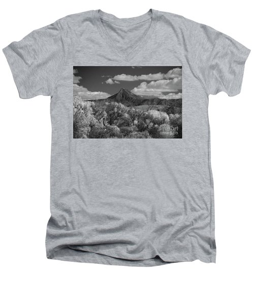 Men's V-Neck T-Shirt featuring the photograph Magestic Peak by Vicki Pelham
