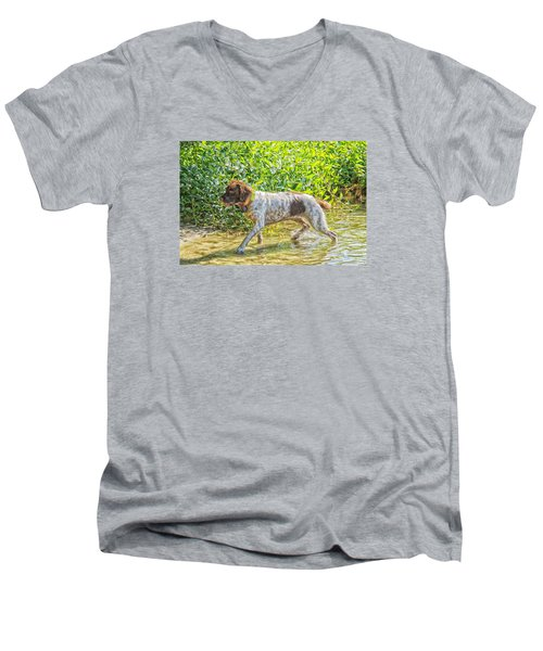 Maggie Stride Men's V-Neck T-Shirt by Constantine Gregory