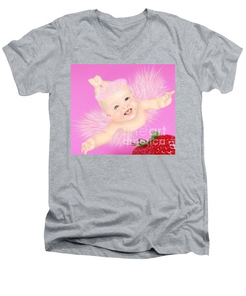 Magic Baby Face-pink Angle Men's V-Neck T-Shirt