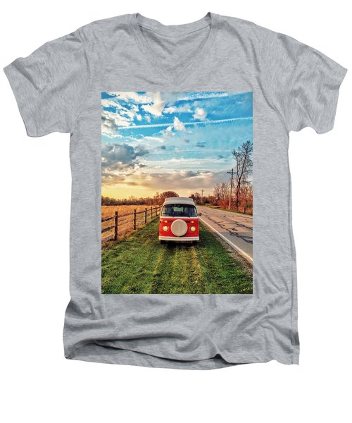 Magic Hour Magic Bus Men's V-Neck T-Shirt by Andrew Weills
