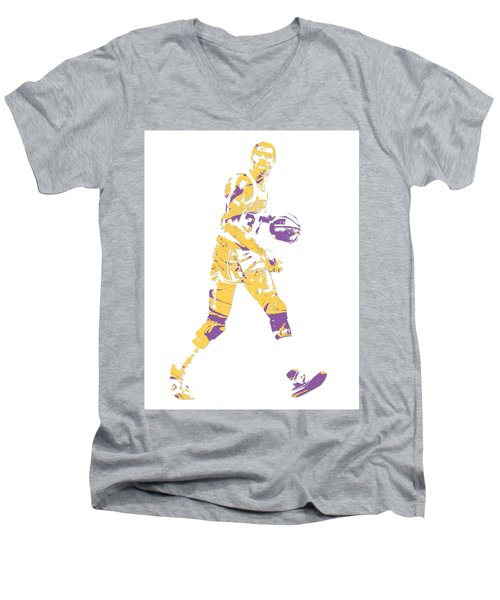 Magic Johnson Los Angeles Lakers Pixel Art 5 Men's V-Neck T-Shirt