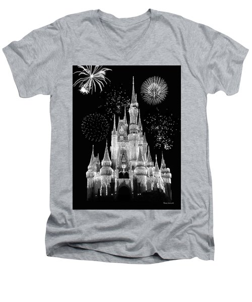 Magic Kingdom Castle In Black And White With Fireworks Walt Disney World Mp Men's V-Neck T-Shirt by Thomas Woolworth