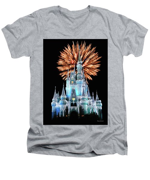 Magic Kingdom Castle In Frosty Light Blue With Fireworks 02 Mp Men's V-Neck T-Shirt by Thomas Woolworth