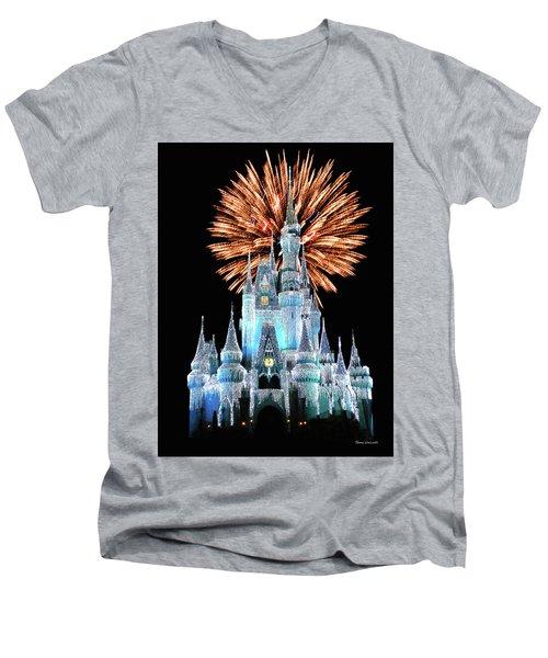 Magic Kingdom Castle In Frosty Light Blue With Fireworks 02 Mp Men's V-Neck T-Shirt
