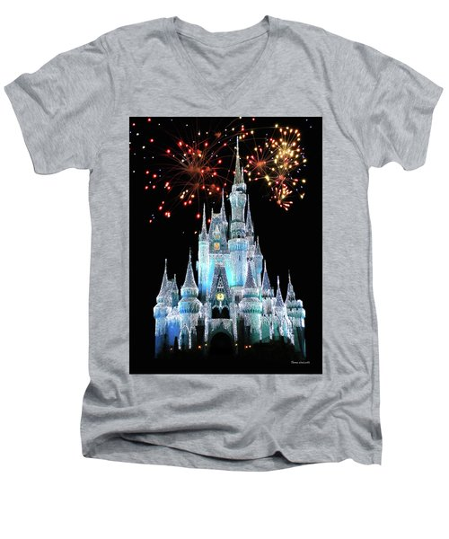 Magic Kingdom Castle In Frosty Light Blue With Fireworks 03 Mp Men's V-Neck T-Shirt by Thomas Woolworth